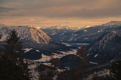 Winter mountain valley Stock Photography