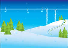 Winter mountain view. And Chairlift resort vector illustration Stock Images