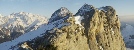 Winter mountain view. Panoramic view of the mountains Foratata of the Pyrenees in winter Stock Photo