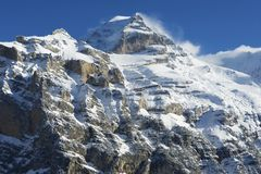 Winter mountain view in Bernese Oberland, Switzerland. Stock Photo