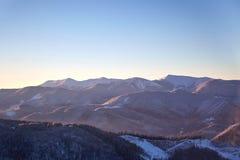 Winter mountain view of Gorgany. Winter landscape in the mountains at sunrise. Ukraine, Carpathian Mountains, the ridge Gorgany Stock Photo