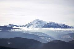 Winter mountain view of Petros. Winter landscape in the mountains. Ukraine, Carpathian Mountains, the ridge Chernogora, Petros Royalty Free Stock Images