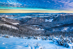 Winter mountain view from the ridge Stock Photography