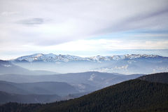 Winter mountain view of Svidovets. Winter landscape in the mountains at sunrise with cloudy sky. Ukraine, Carpathian Mountains, the ridge Svidovets Royalty Free Stock Photography