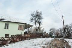 Winter mountain village stock photos