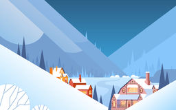 Winter Mountain Village Landscape Background, Night Snow Trees Forest. Flat Vector Illustration Royalty Free Stock Photos