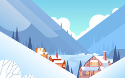 Winter Mountain Village Landscape Background, Snow Trees Forest. Flat Vector Illustration Stock Photography