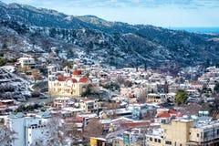Winter mountain village landscape. Kakopetria, Nicosia District, Royalty Free Stock Image