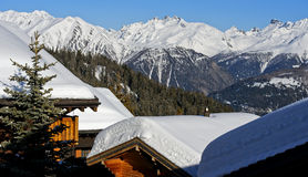 Winter in a mountain village in the Swiss Alps Royalty Free Stock Photo