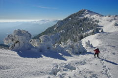 Winter mountain landscape. Snow and female hiker at high altitude - Ciucas Mountains, landmark attraction in Romania Royalty Free Stock Images