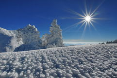 Winter mountain landscape. Sun, snow and ice at high altitude - Ciucas Mountains, landmark attraction in Romania Royalty Free Stock Images