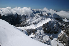 Winter in the mountains. Mountains covered with snow royalty free stock image