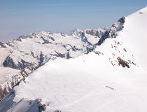 Winter in the mountains. A group of people in the French Alps Royalty Free Stock Images