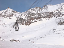 Winter in the mountains. Cable Car in the French Alps Royalty Free Stock Photography