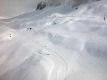 Winter in the mountains. Ski trail in the French Alps Stock Photo