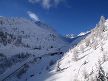 Winter Mountains. Cold terrain sky snow Royalty Free Stock Photo