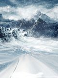 Winter mountains. Winter scenery with mountains and a road Royalty Free Stock Photos
