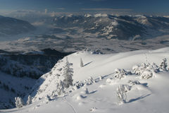 Winter mountains. Winter mountain valley, Saalfelden, Austria stock photography
