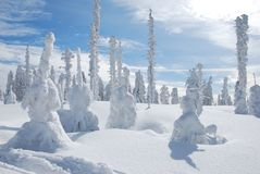 Winter in mountains. Winter in the snowy beskydy mountains Royalty Free Stock Photos
