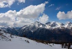 Winter mountains. Ski Italy sun Stock Photo