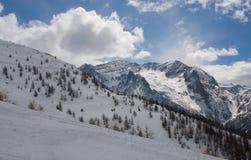 Winter mountains. Blue sky snow Royalty Free Stock Photo