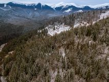 Winter in the Mountains. Aerial View Stock Photography