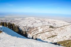 Winter mountains in  Ak Bulak, Almaty, Kazakhstan Stock Photos