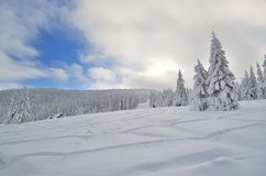 Winter in mountains. Beskidy mountains are famous for beautiful scenery, authentic highland and snowy winters royalty free stock photo