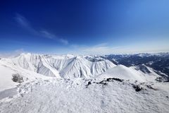 Winter mountains and blue sky Royalty Free Stock Photography