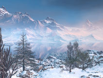 Winter mountains. 3D rendered winter mountains with snow tree and lake Royalty Free Stock Image