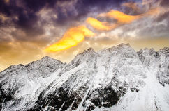 Winter mountains with dramatic colorful sky at sunset. High Tatras, Slovakia Royalty Free Stock Photos