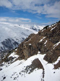 Winter Mountains extreme. Snow landscape cold terrain Royalty Free Stock Photo