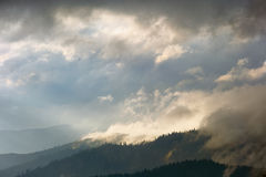 Winter mountains and fog Stock Photo