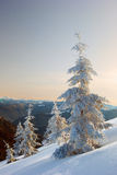 Winter mountains and fog Royalty Free Stock Images