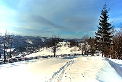 Winter mountains with foot-path Royalty Free Stock Images