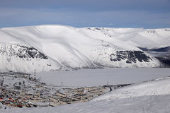 Winter mountains  with frozen lake in Russia , Khibiny (Hibiny), Kola Peninsula Stock Photography
