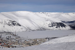 Winter mountains  with frozen lake in Russia , Khibiny Hibiny, Kola Peninsula Stock Image