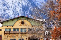 Winter Mountains German Buildings Leavenworth Washington Royalty Free Stock Photo