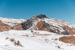 Winter mountains in Gusar region of Azerbaijan Royalty Free Stock Images