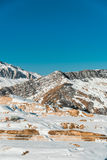 Winter mountains in Gusar region of Azerbaijan Royalty Free Stock Photo