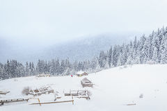 Winter, mountains, home of the shepherds, chalets Stock Image