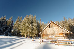 Winter, mountains, home of the shepherds, chalets Stock Images