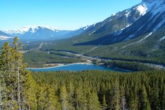 Winter mountains and lake Stock Photography