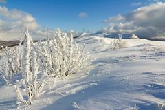 Winter mountains landscape, Bieszczady National Park, Poland Stock Photo