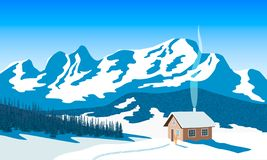 Winter mountains landscape with house, skies, snow, sun light, chimney smoke, forest silhouettes, ski run. Fir tree. Vector. Illustration. For wallpapers, web stock illustration