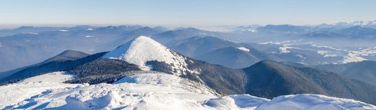 Winter mountains landscape panorana. White snow covered mountain. Hills Royalty Free Stock Images