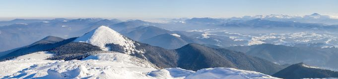 Winter mountains landscape panorana. White snow covered mountain. Hills Royalty Free Stock Photo