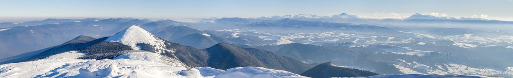 Winter mountains landscape panorana. White snow covered mountain. Hills Stock Photos