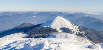 Winter mountains landscape panorana. White snow covered mountain. Hills Stock Image