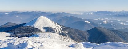 Winter mountains landscape panorana. White snow covered mountain. Hills Royalty Free Stock Image
